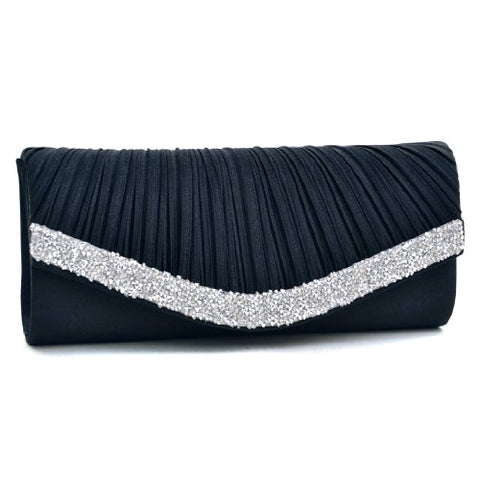 Women's Satin Pleated Evening Bags Rhinestone Accented Flap Clutch Purses with Silver Chain Strap