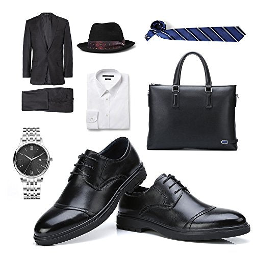 Leather Wingtip Oxford Lace up Cap Toe Shoes