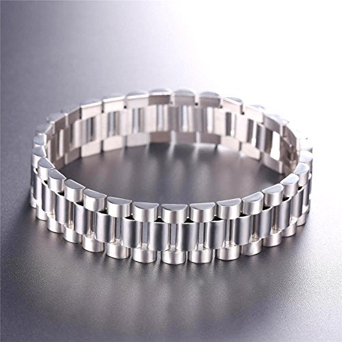 Men Cool Bracelet Stainless Steel Wide Link