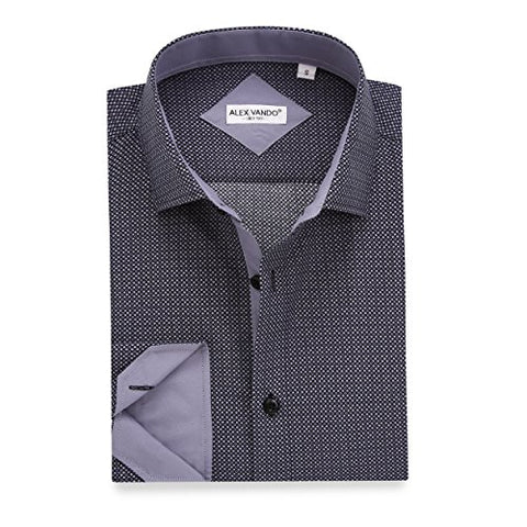 Mens Printed Dress Shirts Long Sleeve Regular Fit Casual Button Down Collar Shirt
