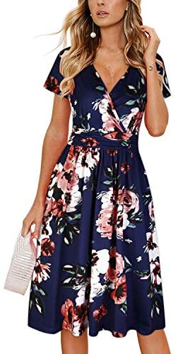 Women's Summer Short Sleeve V-Neck Floral Short Party Dress with Pockets