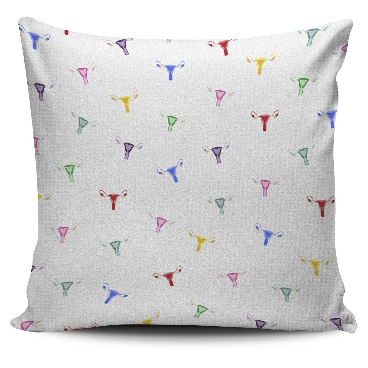 Rainbow Uterus Confetti Pillow Cover