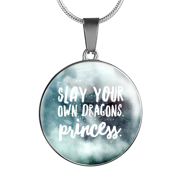 """Slay your own dragons, princess."" Luxury Bangle / Necklace - Blue"