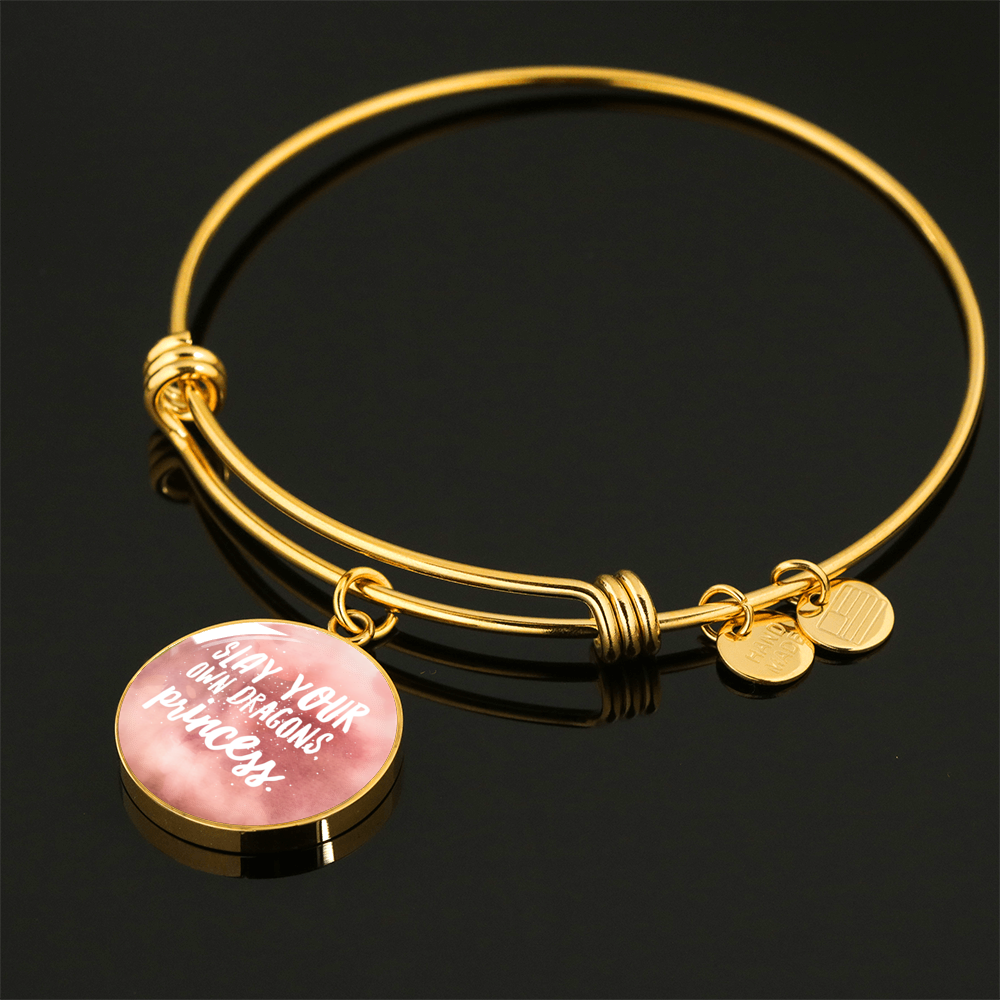 """Slay your own dragons, princess."" Luxury Bangle / Necklace - Pink"