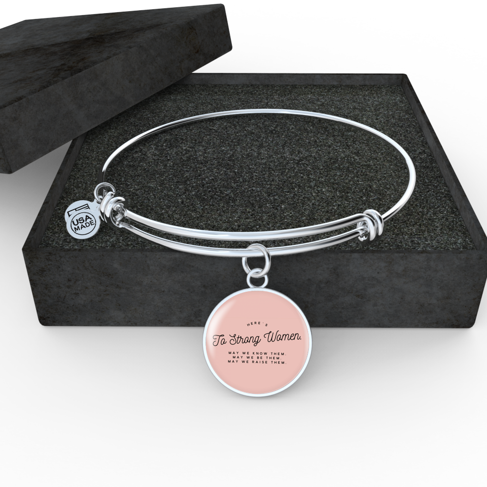"""Here's to strong women."" Luxury Bangle / Necklace - Pink"