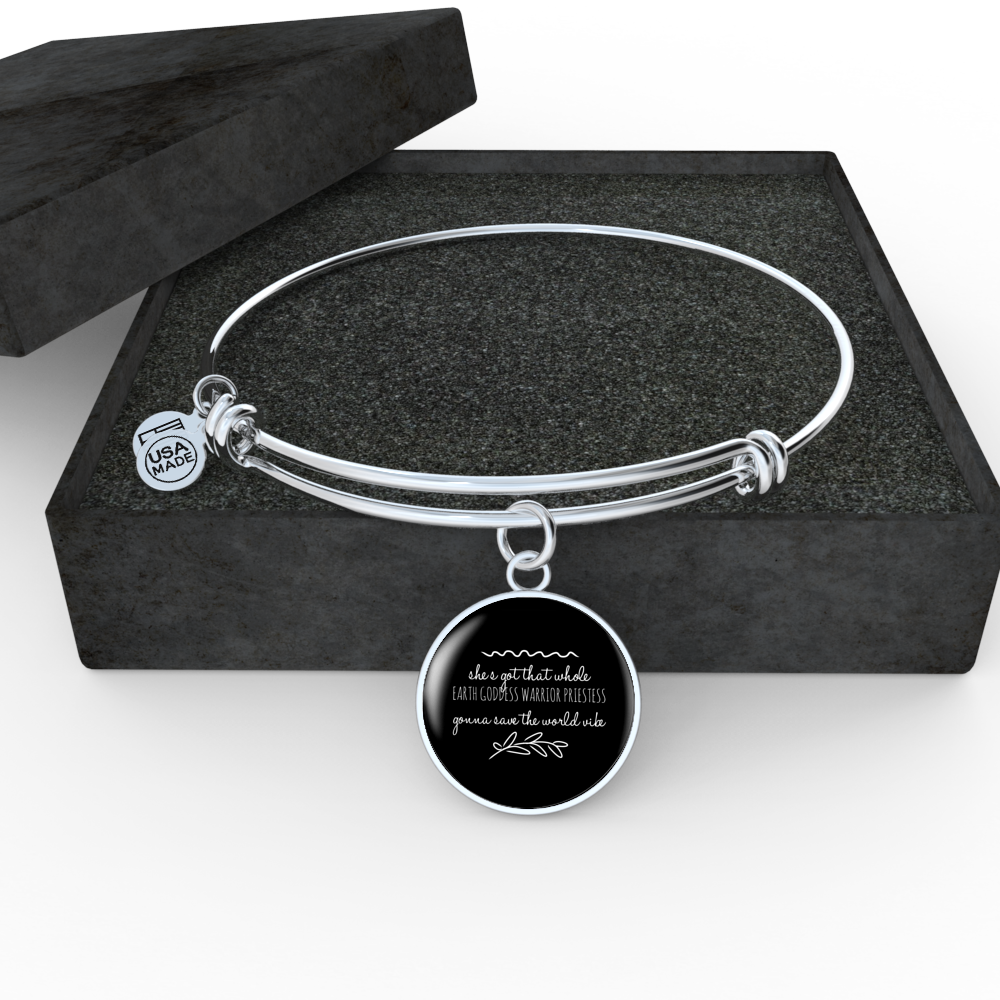 """Gonna save the world vibe."" Luxury Bangle / Necklace - Black"