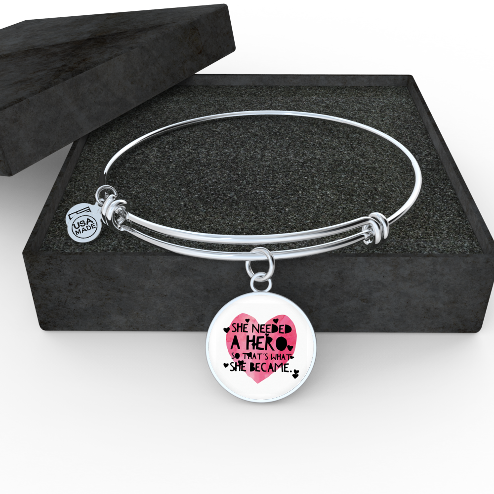 """She needed a hero, so that's what she became."" Luxury Bangle / Necklace - Pink"