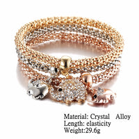 Stunning Tri-Color, Triple-Rope, 3-Charm Crystal Bracelet!