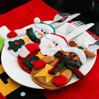 3-pc Christmas Cutlery Pocket Holder - Snowmen, Reindeer & Santas! What A Merry Little Decorative Touch For Your Holiday Table!
