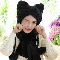 Super Cute Chunky Knitted Fox/Cat Ears Winter Hat With Pom Poms