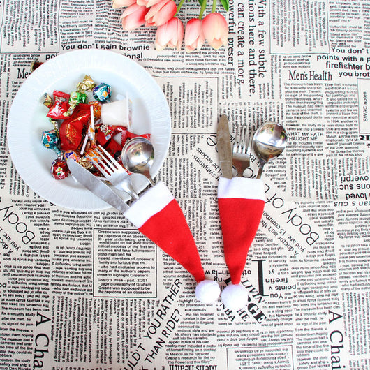ADORABLE! 10-pc Mini Santa Hat Place Settings, For Your Christmas Dinner Silverware!