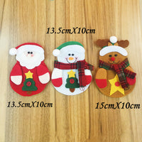 12-pc Christmas Cutlery Pocket Holder - Snowmen, Reindeer & Santas! What A Merry Little Decorative Touch For Your Holiday Table!
