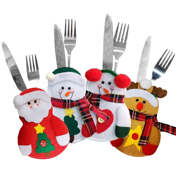 8-pc Christmas Cutlery Pocket Holder - Snowmen, Reindeer & Santas! What A Merry Little Decorative Touch For Your Holiday Table!