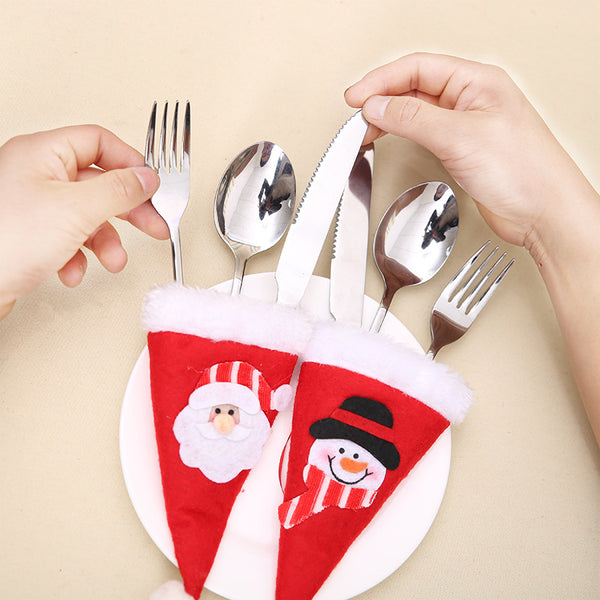 6-pc Holiday Cheer Silverware Pocket Holders - Easily Festivize Your Holiday Table!