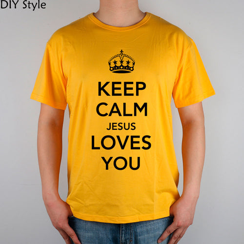 KEEP CALM JESUS LOVES YOU/ CHRISTIAN T SHIRTS