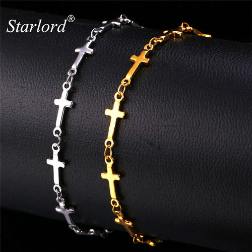 STARLORD JESUS CROSS BRACELET SILVER AND GOLD COLOR