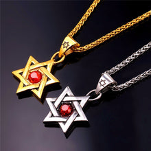 """RED STAR OF DAVID"" NECKLACE STAINLESS STEEL OR GOLD-COLOR"
