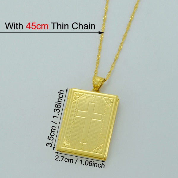 HOLY BIBLE CROSS PHOTO PENDANT NECKLACE (