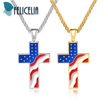 "USA NATIONAL FLAG CROSS PENDANT NECKLACE (""GORGEOUS"") SILVER/GOLD COLOR"