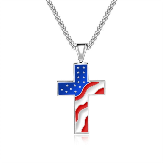 USA NATIONAL FLAG CROSS PENDANT NECKLACE (