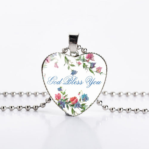 GOD BLESS YOU BEAUTIFUL HEART PENDANT NECKLACE (