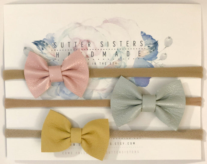 Mini Leather Bows (Set of 3) - Little BaeBae