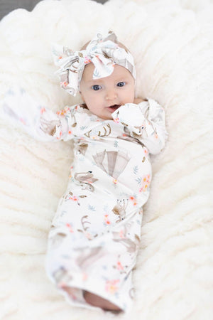 Fawn Baby Gown + Bow - Little BaeBae