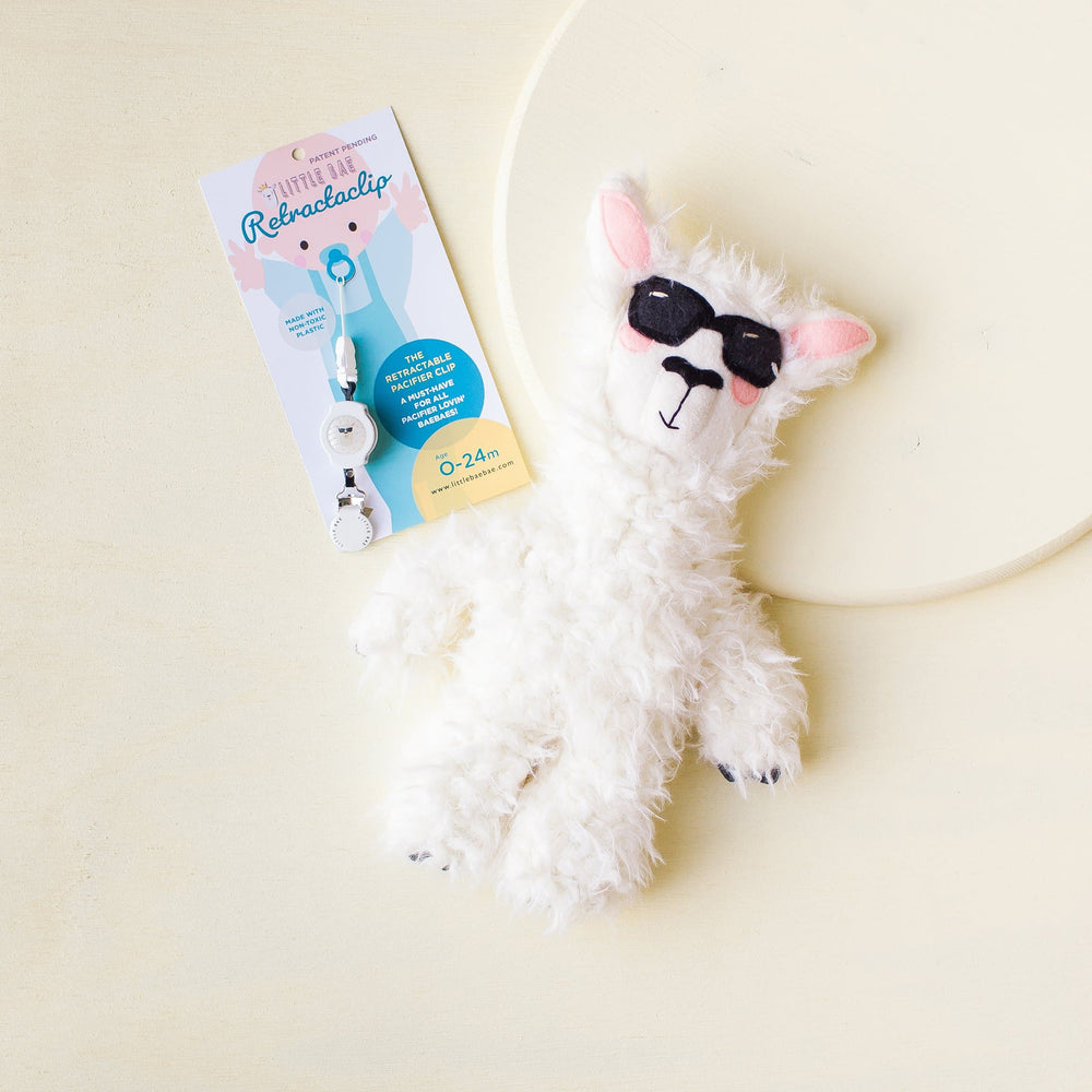 COMBO DEAL: Llama Plushie & Matching RetractaClip (Pacifier Clips) - Little BaeBae