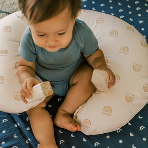 Load image into Gallery viewer, Rainbow Stamp in Cream | Nursing Boppy Pillow Cover - Little BaeBae