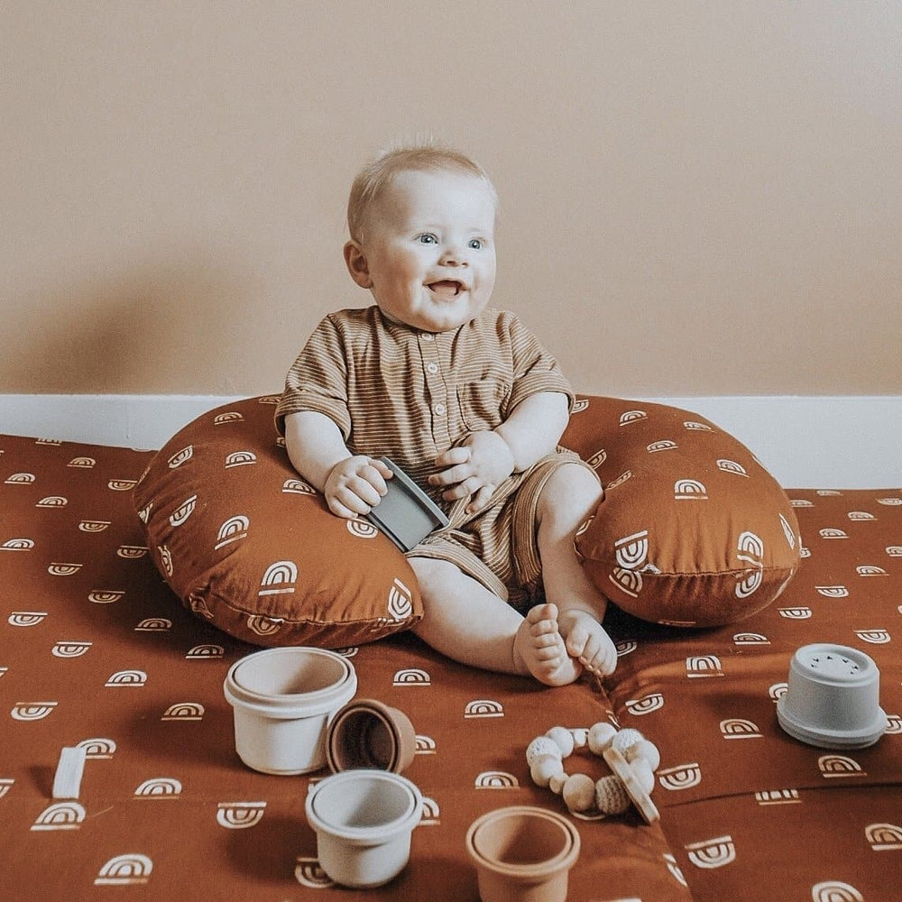 Rainbow Stamp in Rust | Nursing Pillow Cover - Little BaeBae