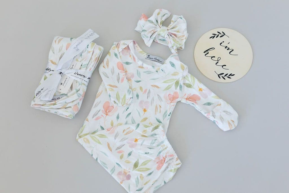 Evelynn Baby Gown + Bow - Little BaeBae