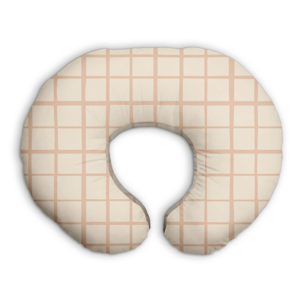 Grid in Peach | Nursing Boppy Pillow Cover - Little BaeBae