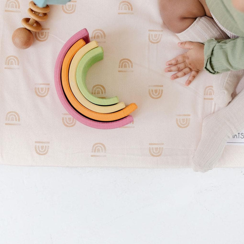 Rainbow Stamp in Cream | Standard | Padded Play Mat - Little BaeBae