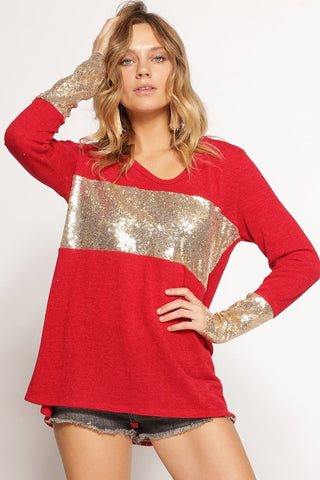 Holiday Glitz Top w/ Sequin Detail - Eye Candy Beauty + Boutique