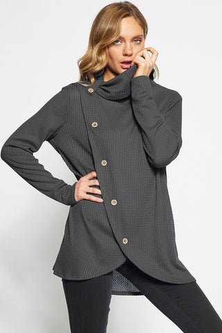 Isabel Waffle Knit Top w/ Cowl Neck - Eye Candy Beauty + Boutique