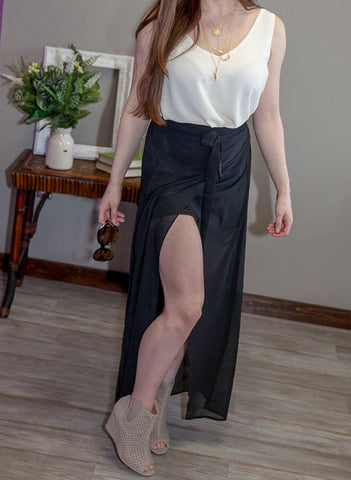 Criss Cross Sheer Maxi Skirt - Eye Candy Beauty + Boutique