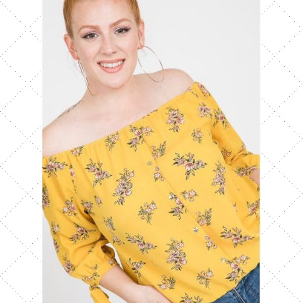 Spring Floral Off The Shoulder Top - Eye Candy Beauty + Boutique