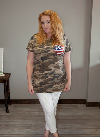 All American Camo Tee - Eye Candy Beauty + Boutique