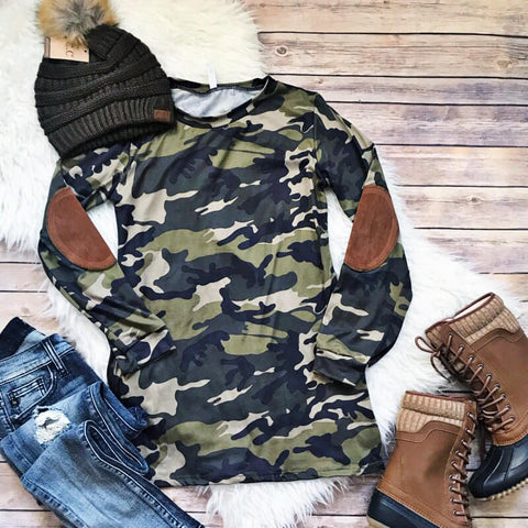 Camo Top w/ Elbow Patch