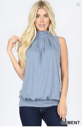 High Neck Pleated Sleeveless Top - Eye Candy Beauty + Boutique