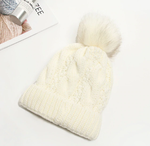 Cable Knit Pom w/ Fur Lining - Eye Candy Beauty + Boutique