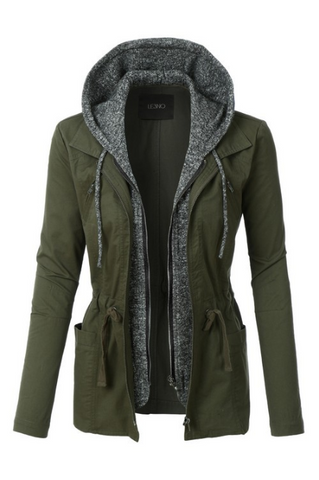 Military Anorak Jacket with Soft Hoodie - Eye Candy Beauty + Boutique