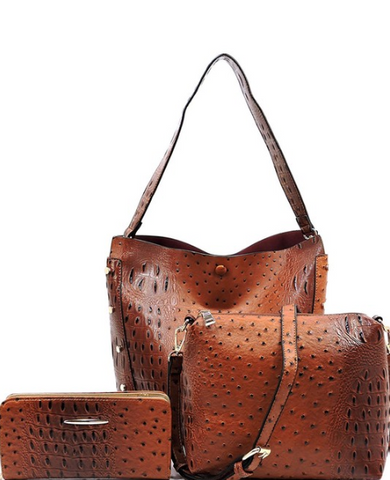 Ostrich 3-in-1 Handbag Set - Eye Candy Beauty + Boutique
