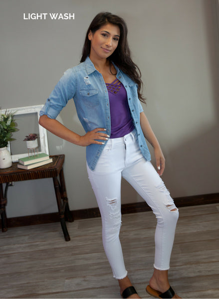 Quinn Denim Top - Eye Candy Beauty + Boutique