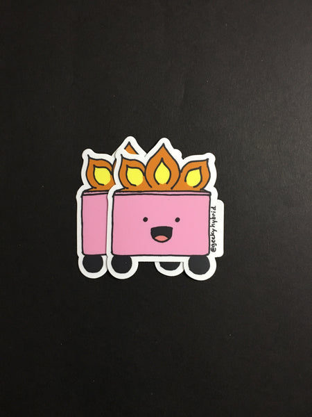 Cute pink garbage fire laptop sticker - large