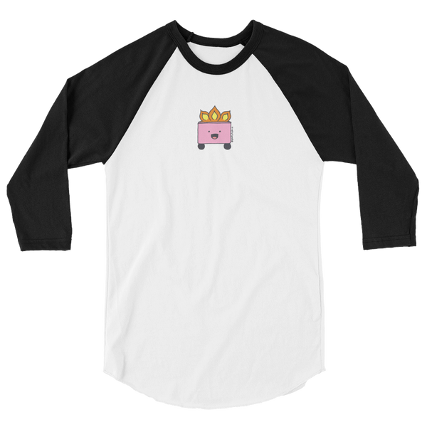 Happy pink garbage fire on white body baseball raglan tee shirt