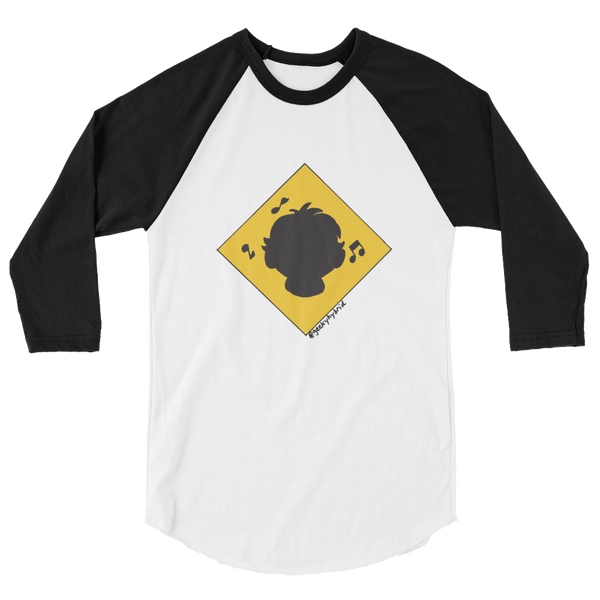 @geekyhybrid noise-cancelling headphone zone on white body baseball tee shirt