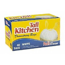 Trash Bags, Drawstring, Tall Kitchen Garbage Bags, 13 Gal, White, 40 Count