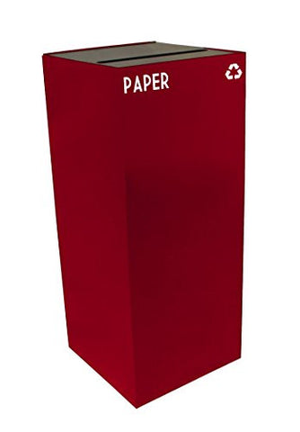 Witt Industries 36GC02-SC GeoCube Recycling Receptacle with Slot Opening, Steel, 36 gal, Scarlet