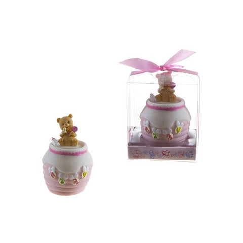 "Lunaura Baby Keepsake - Set of 12 ""Girl"" Baby Teddy Bear on Honey Jar Bank Favors - Pink"